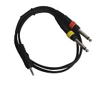 Sendt 3 Foot 1/8 inch (3.5mm) Male Stereo to Dual  1/4 inch Male Mono Instrument Cable