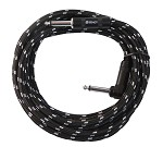 Sendt 10 foot 1/4 inch (6.3mm) Male to Right Angle Male Mono Nylon Braided Instrument Cable